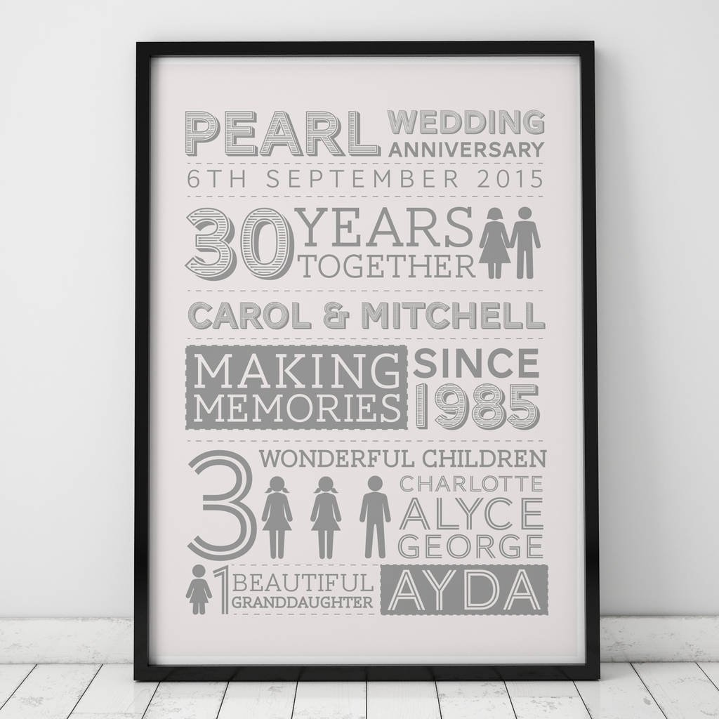 10 Nice 30Th Anniversary Gift Ideas For Parents 30th wedding pearl anniversary gifts notonthehighstreet 1