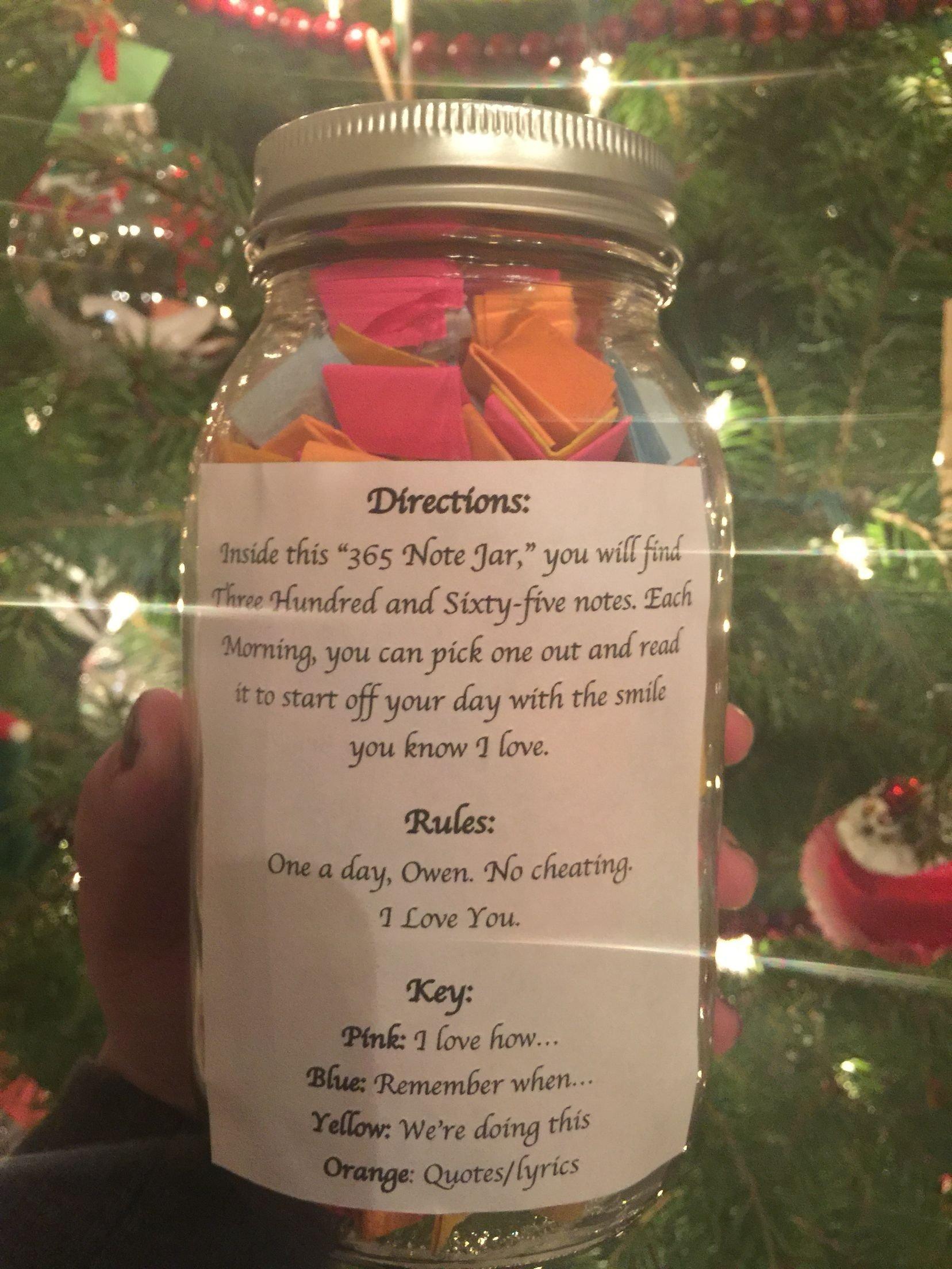 10 Perfect Creative Birthday Ideas For Girlfriend 365 day note jar for boyfriend or girlfriend gifts pinterest 1 2021