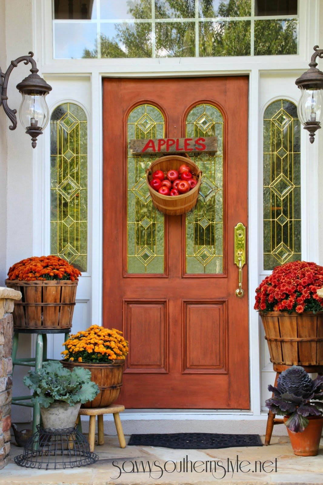 10 Lovely Front Door Fall Decorating Ideas 37 fall porch decorating ideas ways to decorate your porch for fall 4