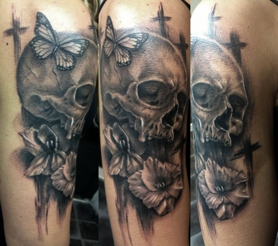 10 Stunning Life And Death Tattoo Ideas 3d death skull with butterfly and flower tattoo design for half 2020