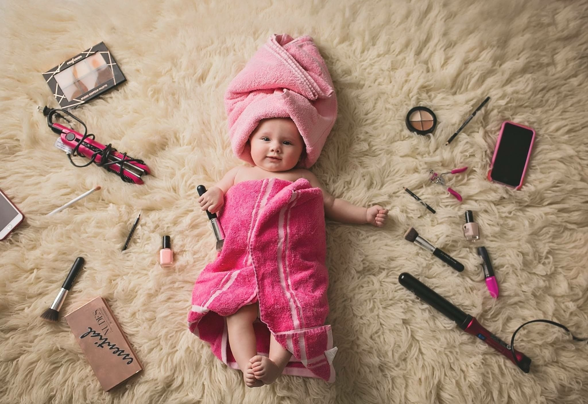 4 month baby girl pink make up towels photography ideas | baby girl