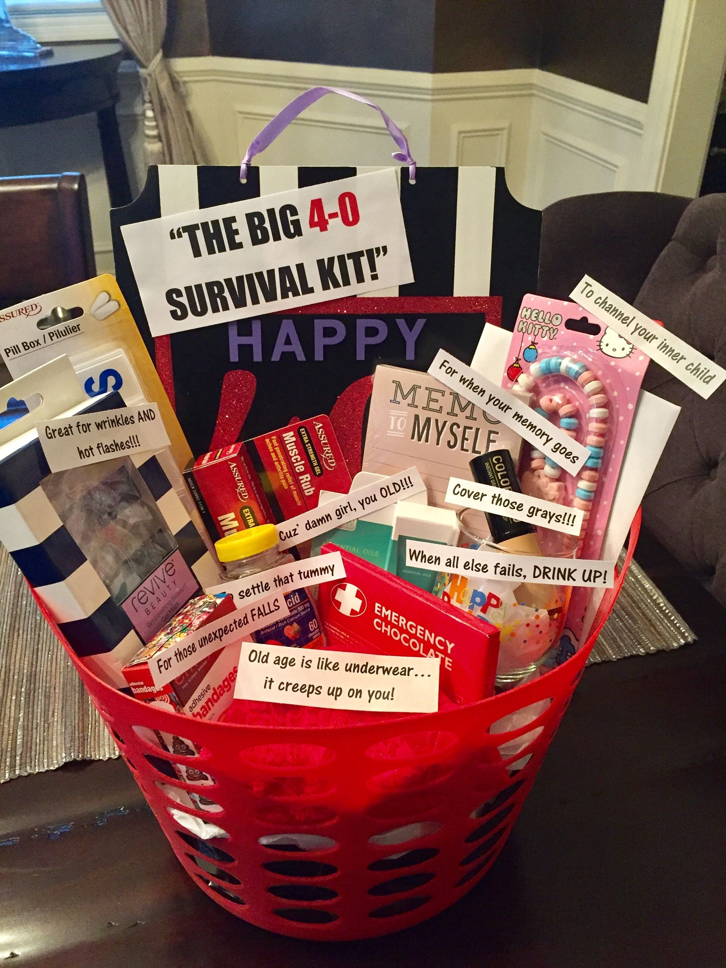 10 Beautiful 40Th Birthday Gift Ideas For Women 40th birthday survival kit for a woman most things from dollar tree