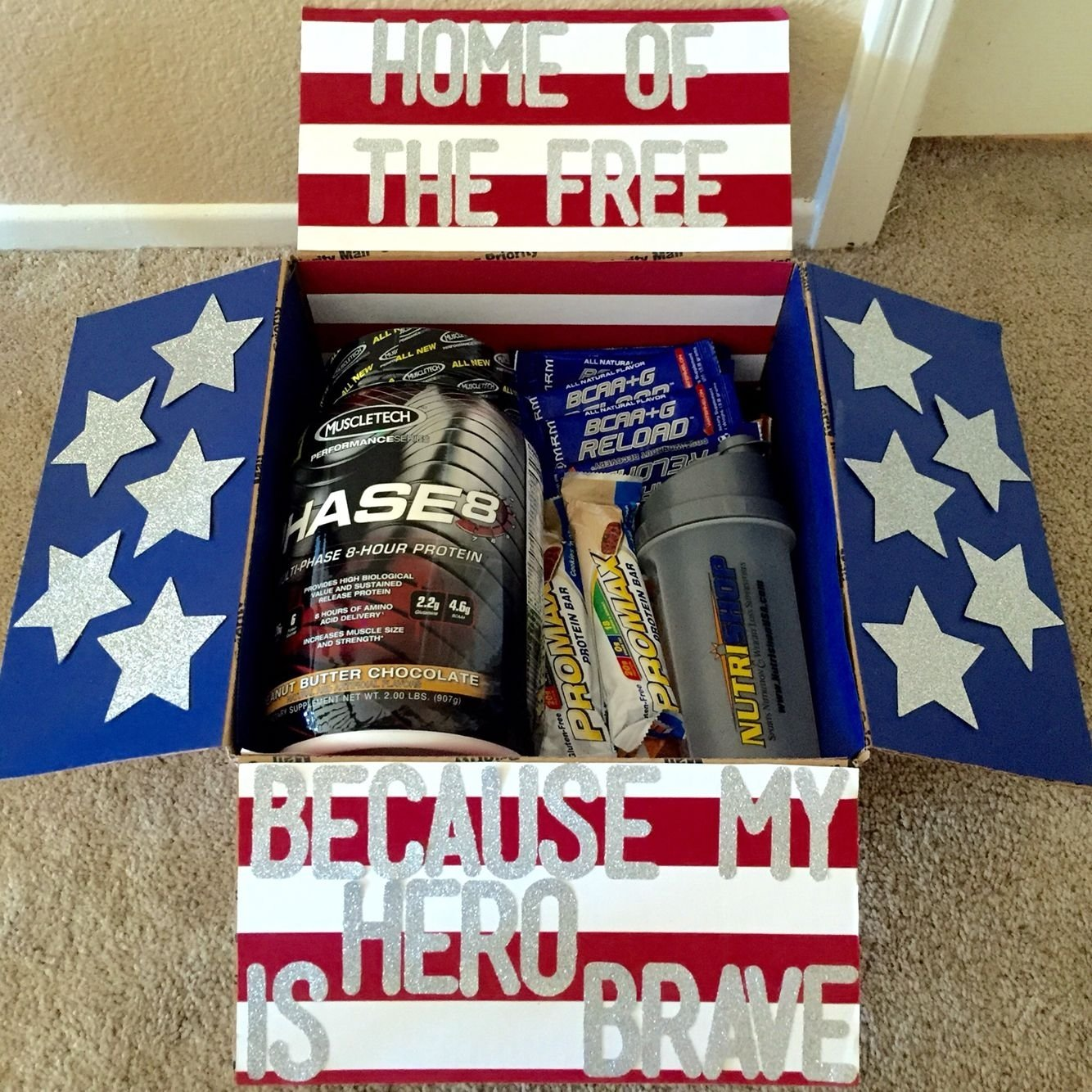 4th of july themed care package for babe | gifts for her | pinterest