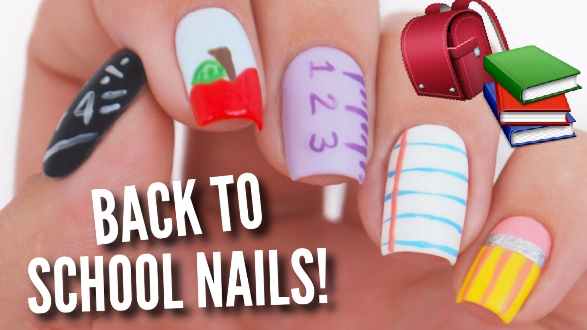5 back to school nail art designs! - youtube