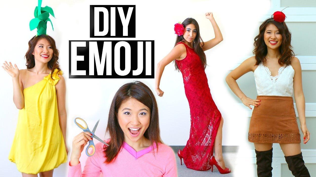 5 diy halloween costumes ideas for girls! emoji ideas! - youtube