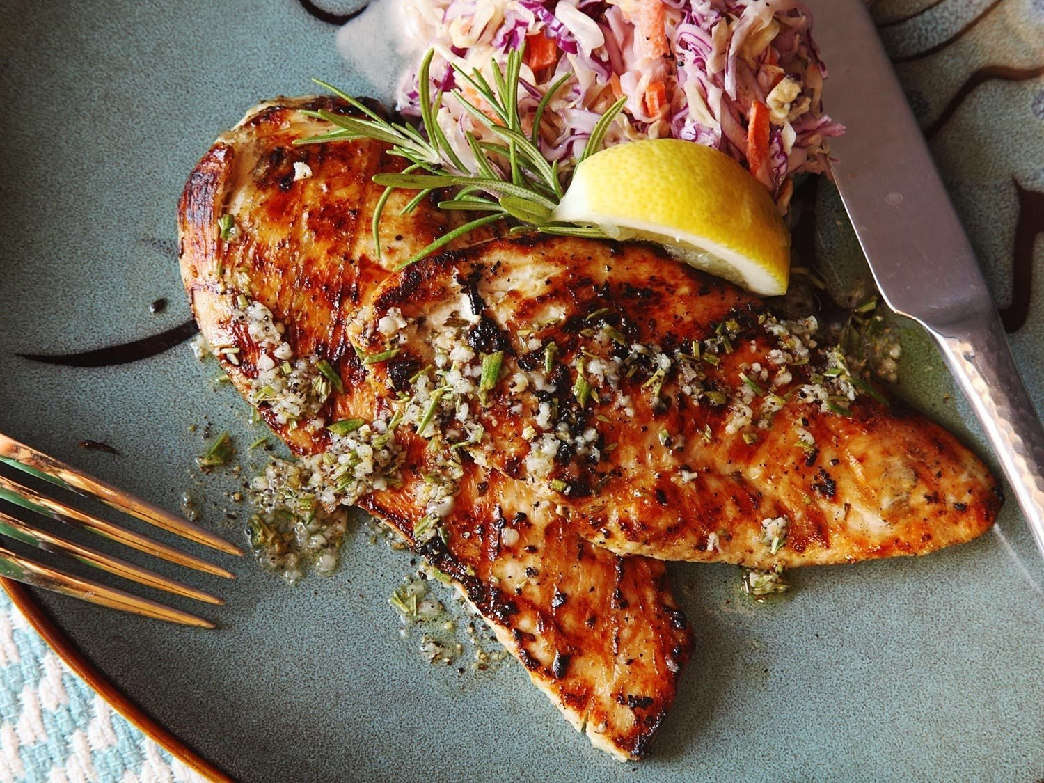 5-minute grilled chicken cutlets with rosemary, garlic, and lemon