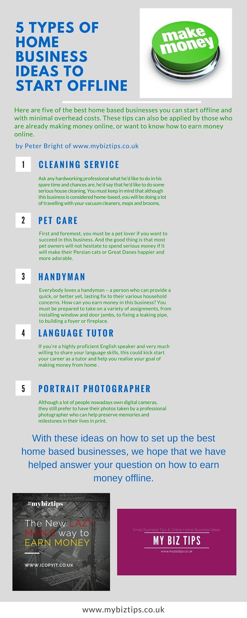 10 Nice How To Make Millions With Your Ideas 5 types of home business ideas to start offline infographic 2020