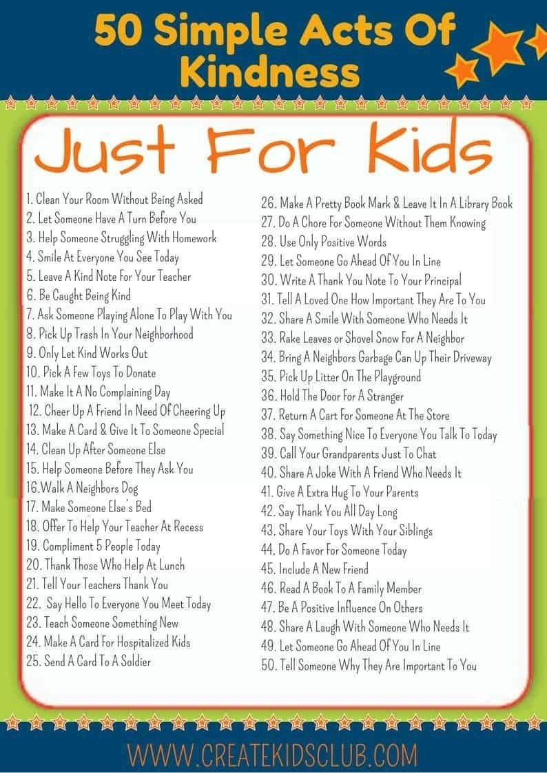 10 Trendy Acts Of Kindness Ideas For Kids 50 acts of kindness kids can do on their own for free free 1 2020