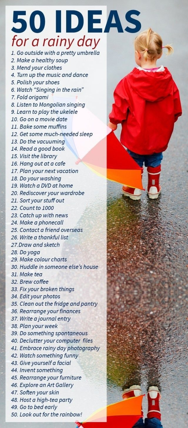 50 ideas for a rainy day | 50th, activities and stuffing