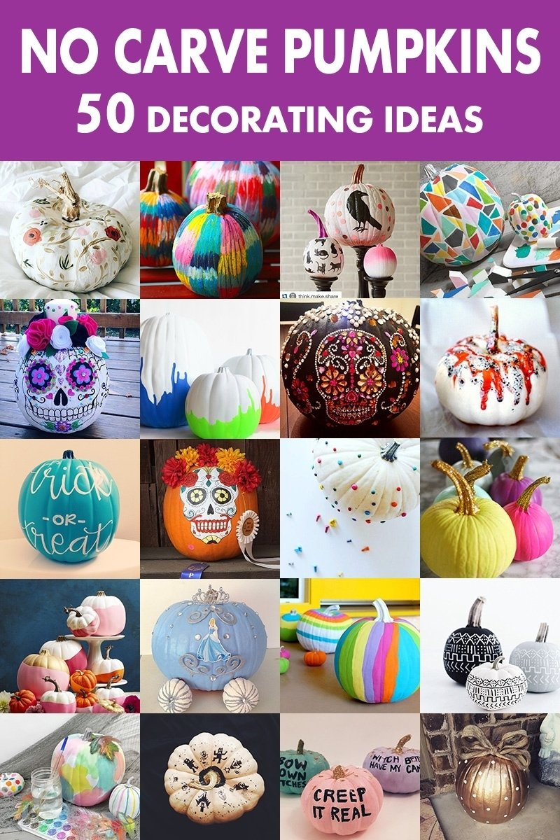 10 Unique Decorating Pumpkin Ideas Without Carving 50 no carve pumpkin decorating ideas for fall 2016 3 2020