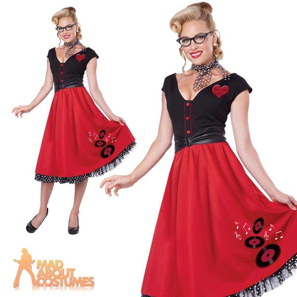 50s nifty rock n roll sweetheart costume poodle ladies hop dress