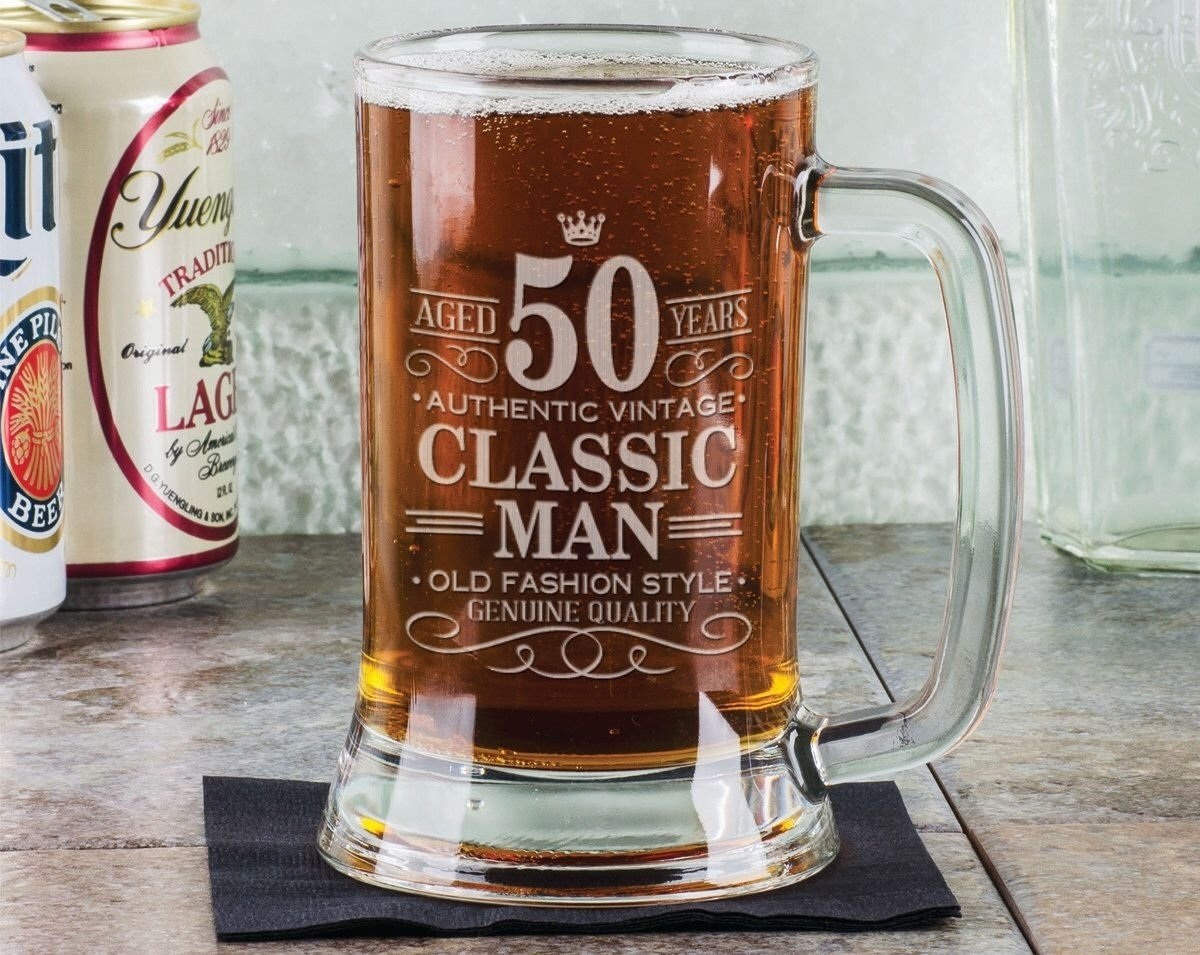 50th birthday classic man 16oz beer mug stein glass engraved father