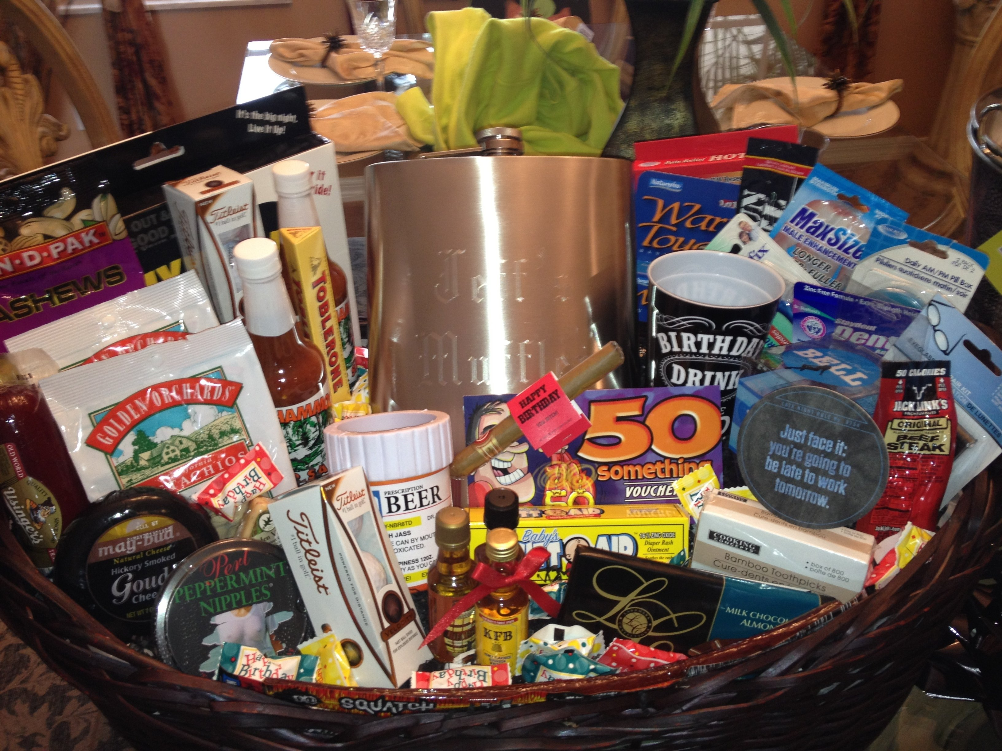 10 Pretty 50Th Birthday Ideas For Men 50th Gift Basket Him