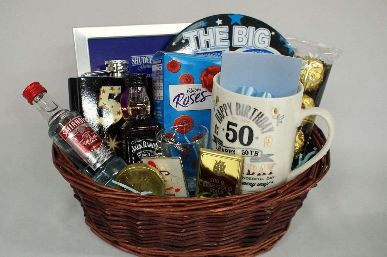 10 Trendy 50 Birthday Ideas For Men 50th birthday gift basket for men personalised gift basket 2021