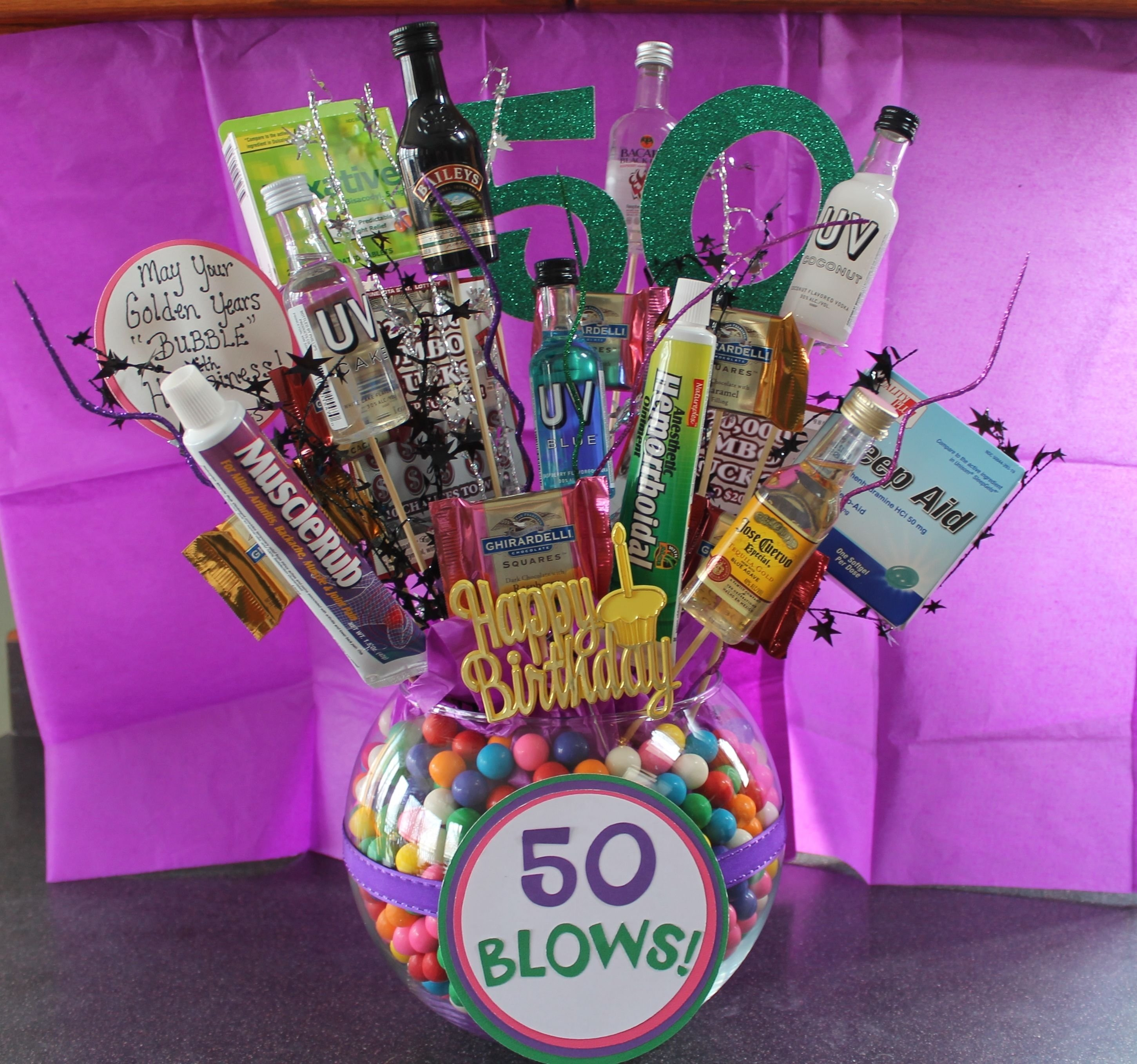 10 Cute 50Th Birthday Gag Gift Ideas 50th birthday gift ideas bubble gum funny gifts and liquor 2020