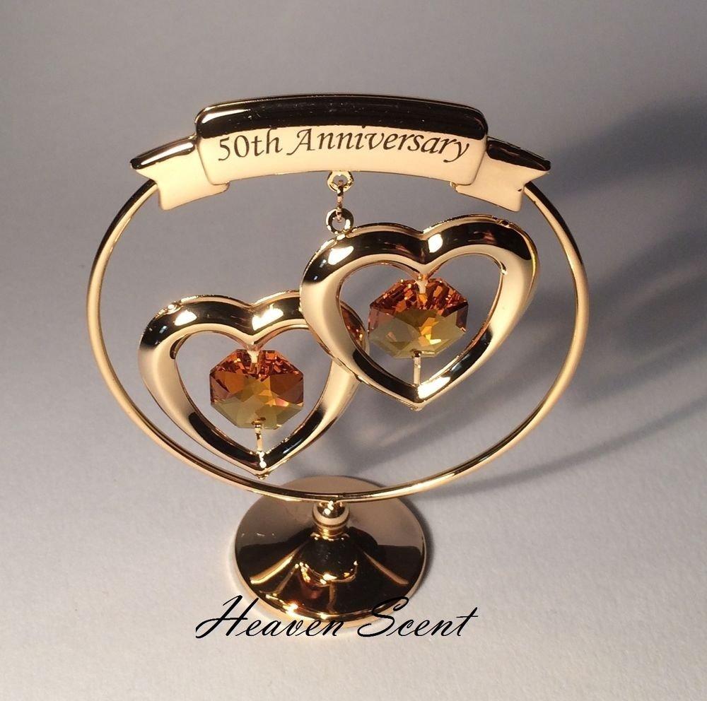 50th golden wedding anniversary gift ideas gold plated+ swarovski