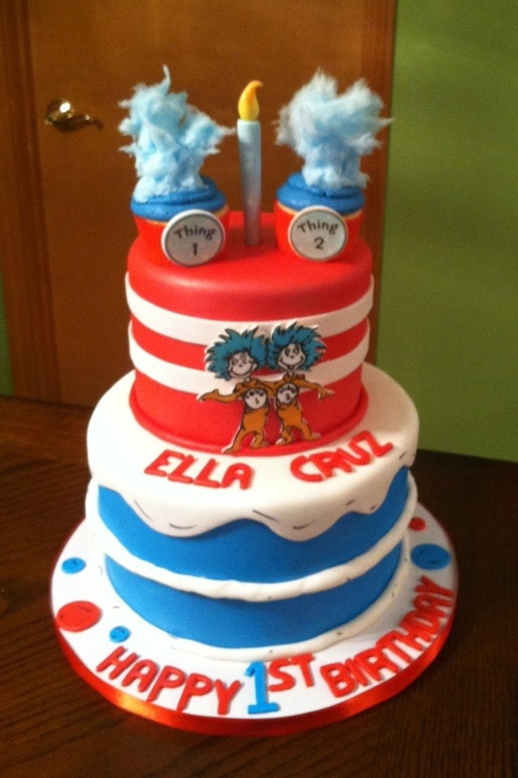 10 Awesome Thing 1 And Thing 2 Cake Ideas 56 best twins 1st birthday party cat and the hat thing 1 and thing