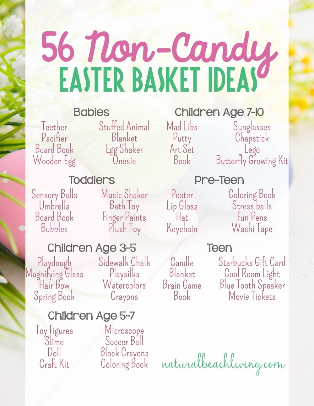 56 non-candy easter basket ideas for kids - natural beach living