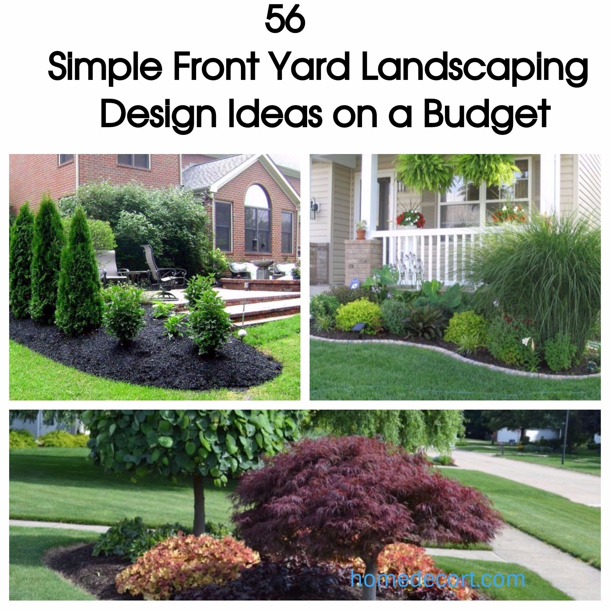 10 Stylish Simple Front Yard Landscaping Ideas On A Budget 56 simple front yard landscaping design ideas on a budget homedecort