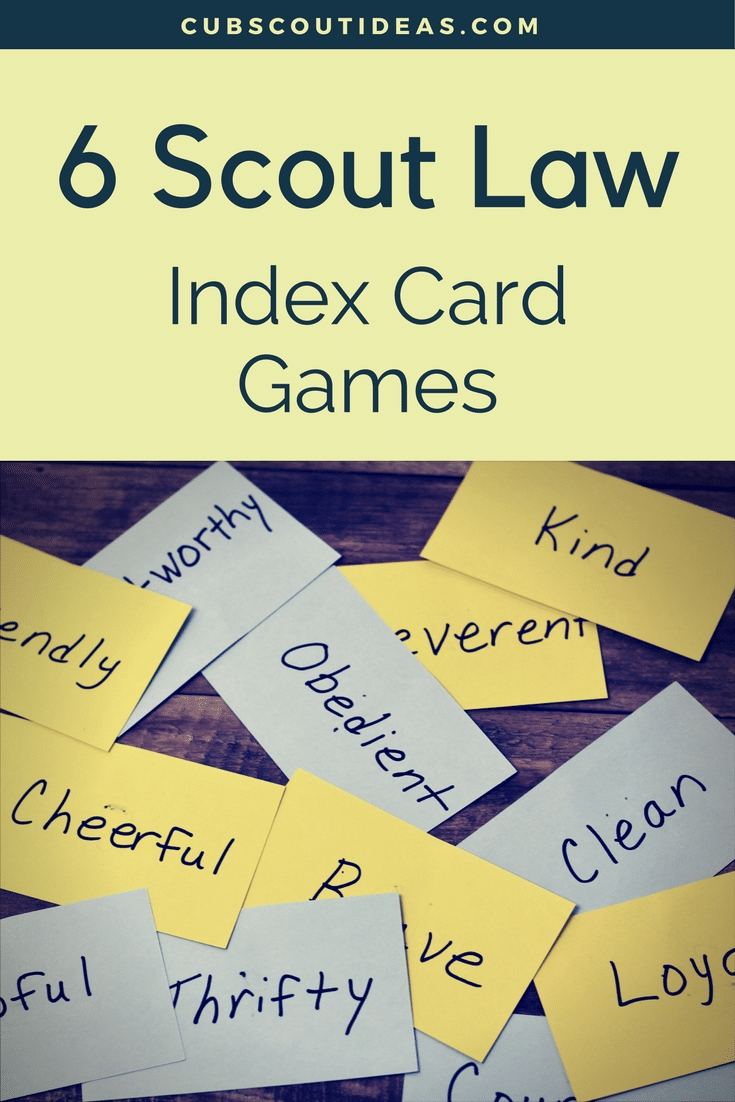 6 exciting and helpful scout law index card games | boy scout oath
