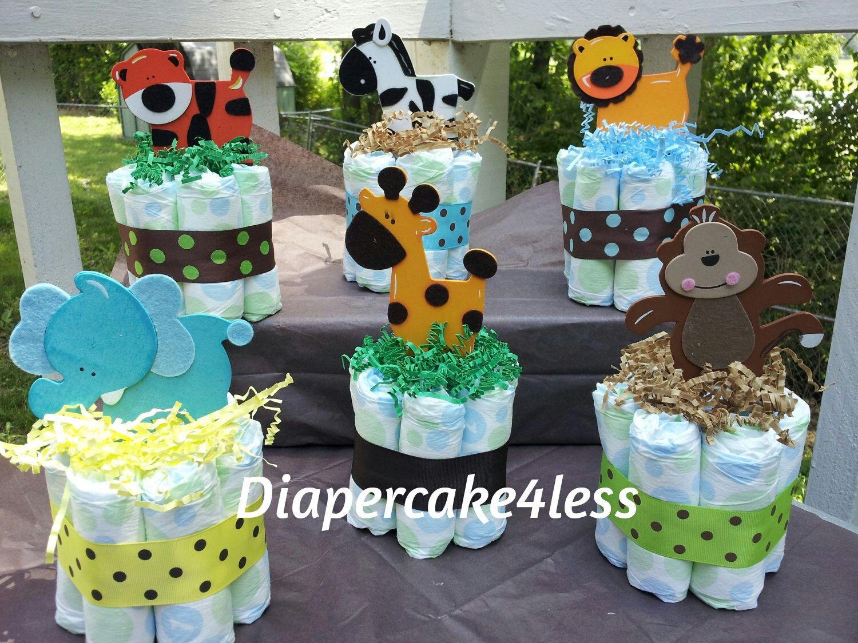 10 Spectacular Safari Jungle Baby Shower Ideas 6 jungle theme mini diaper cakes baby showerdiapercake4less 2021