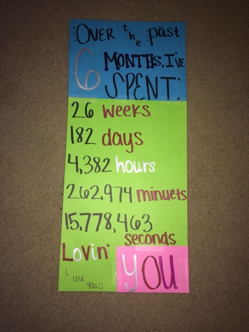 10 Amazing 6 Month Anniversary Gift Ideas For Him 6 month anniversary card idea e299a1lets have a datee299a1 pinterest 6 2021