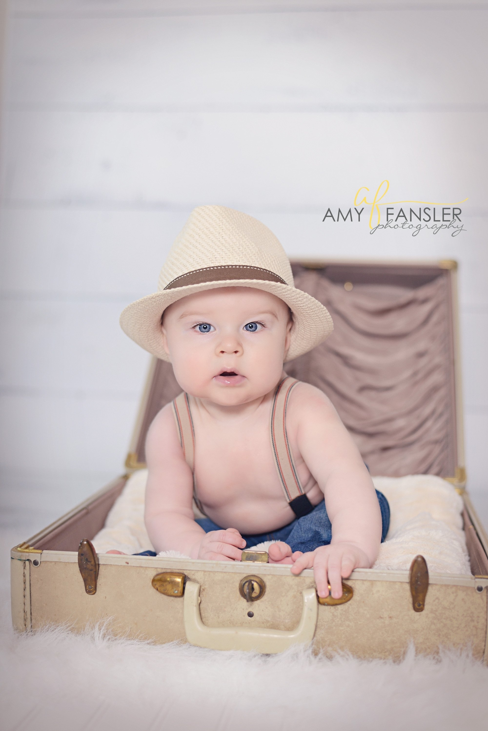 6 month baby session - vintage suitcase suspenders - cute baby boy