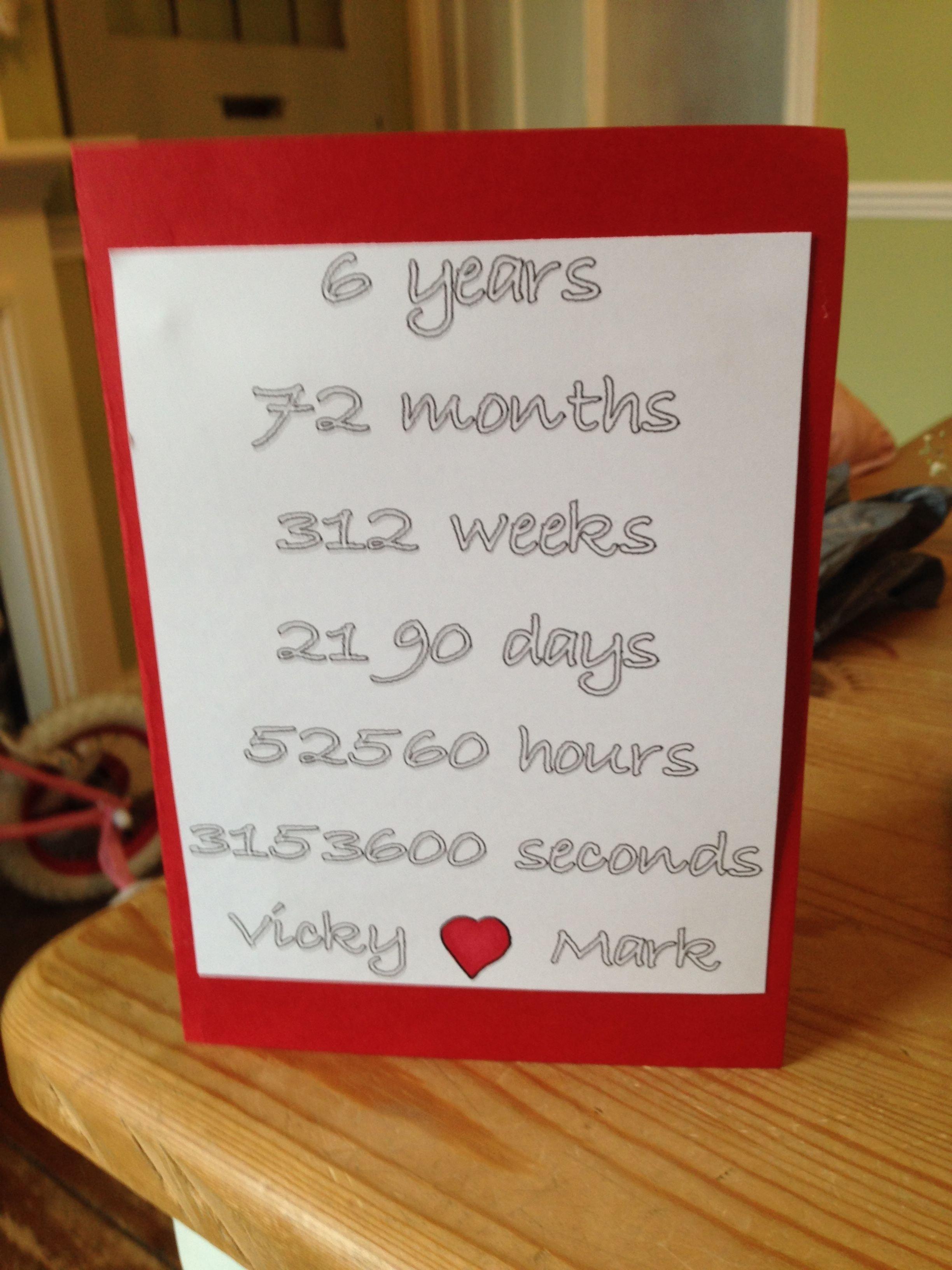 10 Unique 6Th Year Anniversary Gift Ideas 6 year anniversary card love it pinterest anniversaries gift 5 2021