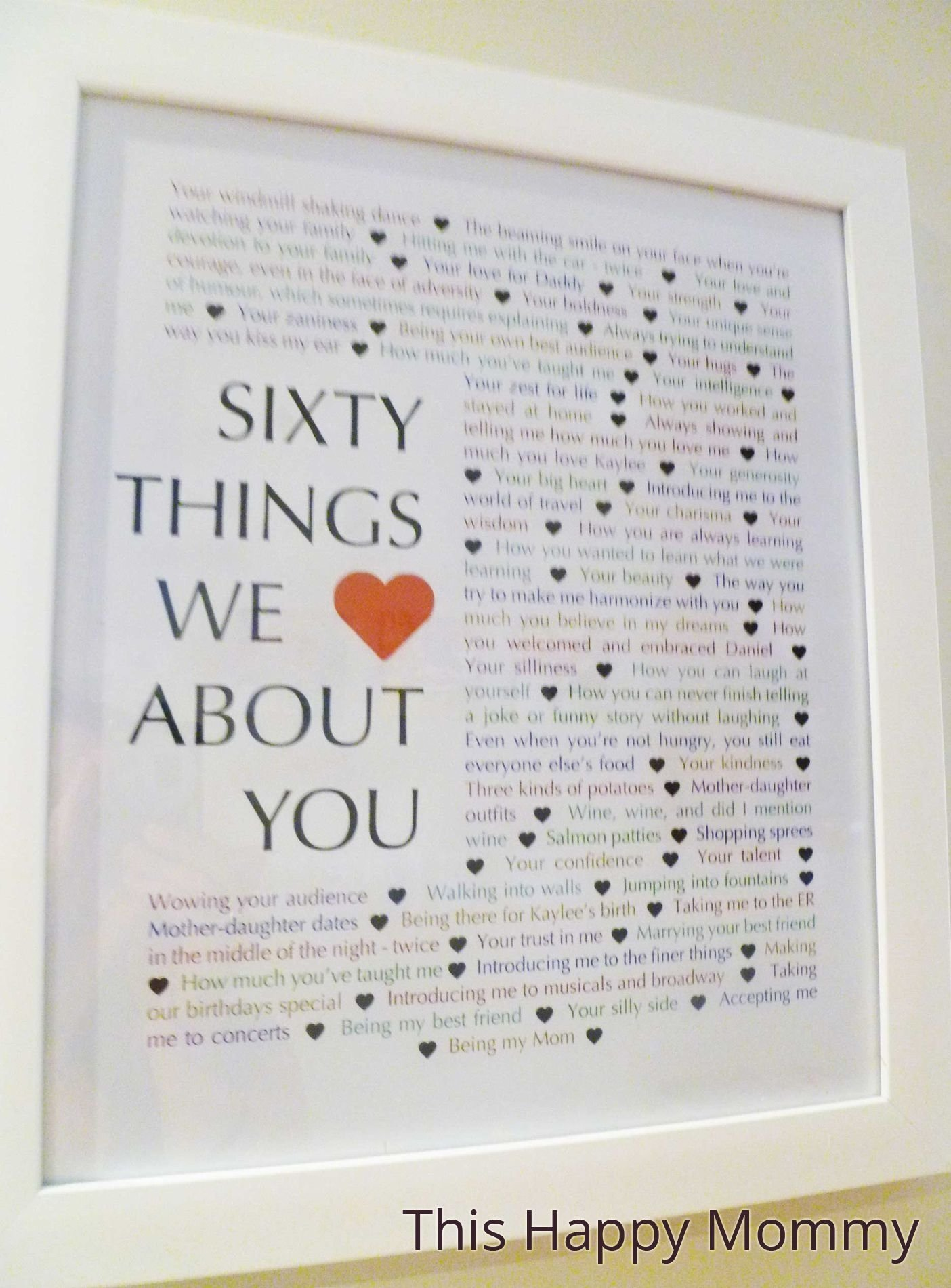 10 Lovely Great 60Th Birthday Gift Ideas 60 Things We Love About You Milestone Birthdays Homemade