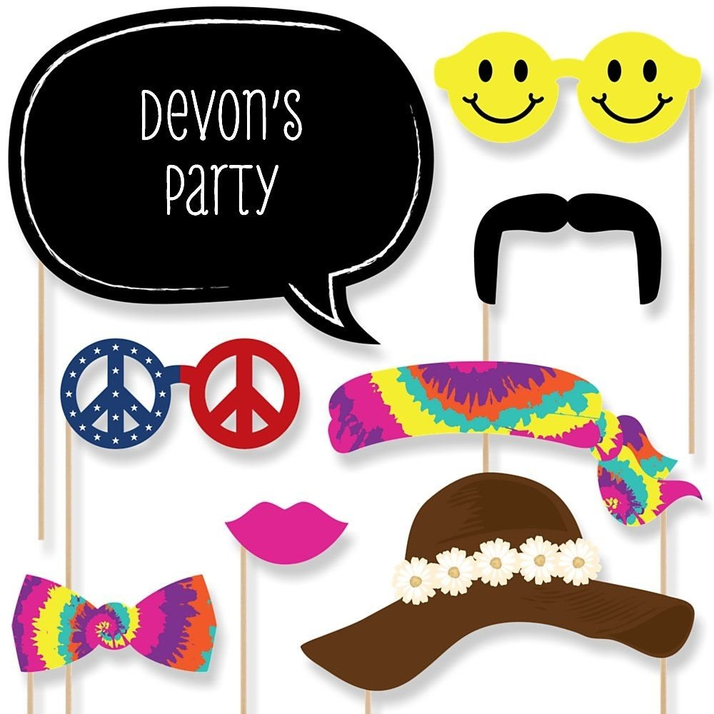 10 Trendy Ideas For Photo Booth Props 60s hippie 20 piece photo booth props kit bigdotofhappiness 2021