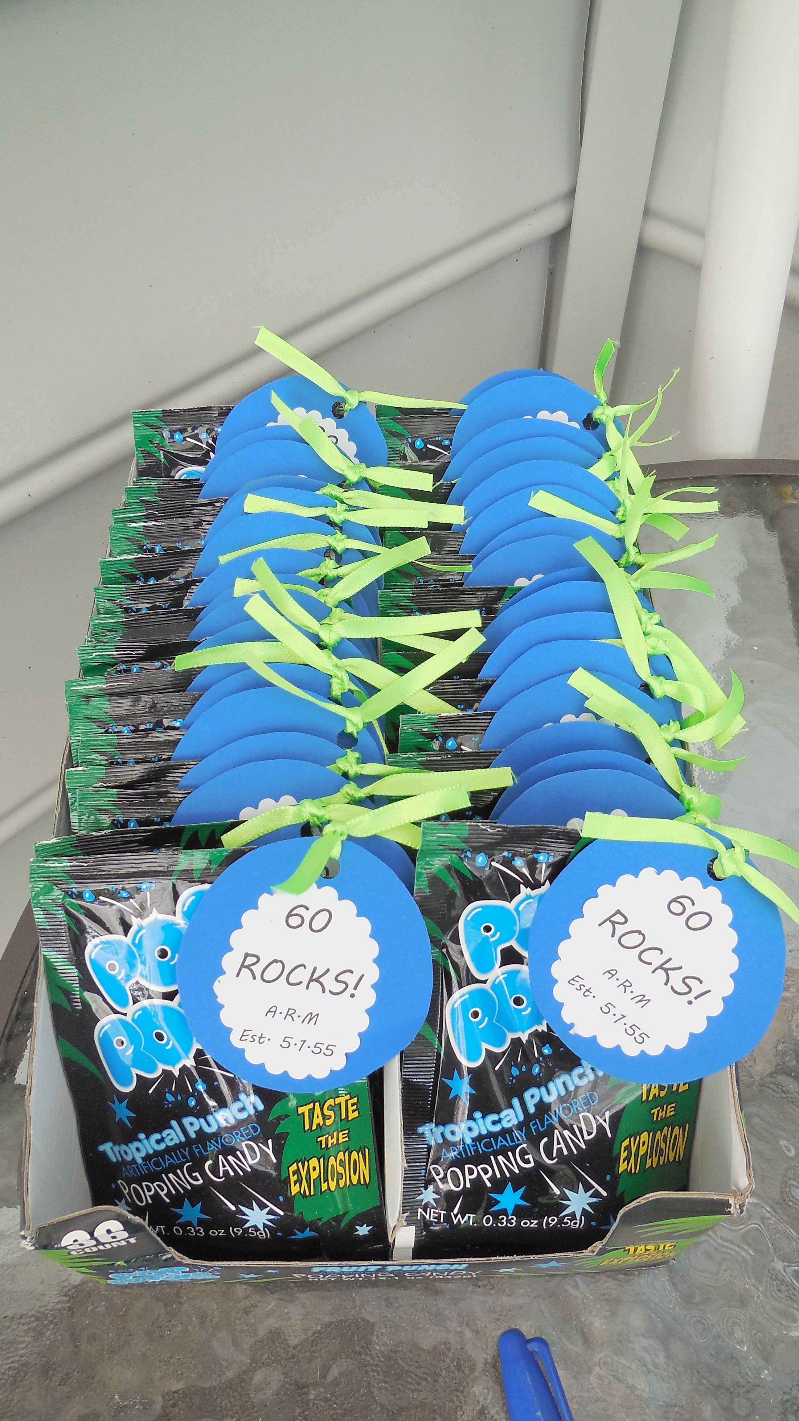 60th birthday party favors. | bean & buddy invites party decoration