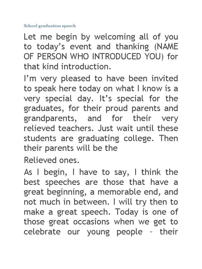 10 Stylish Middle School Graduation Speech Ideas 7 middle school speech examples pdf 2 2021