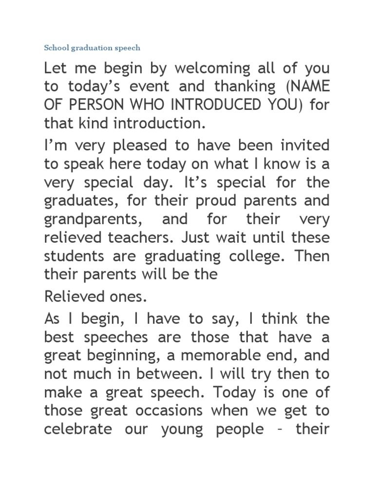 10 Cute High School Graduation Speech Ideas 7 middle school speech examples pdf 5