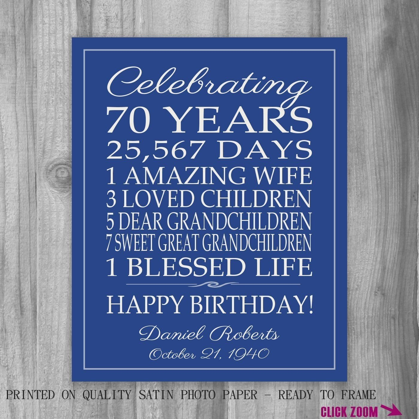 10 Most Popular 70Th Birthday Gift Ideas For Dad 70th Sign Canvas Personalized
