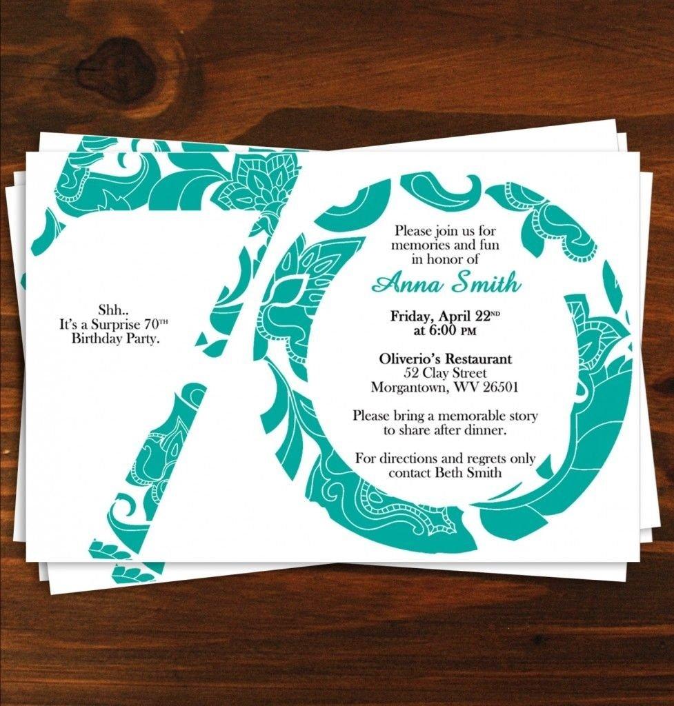 10 Great Surprise 70Th Birthday Party Ideas 70th birthday invitation templates pinteres