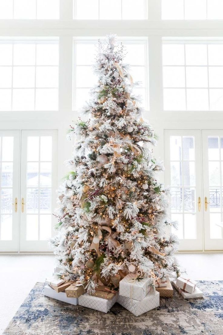 10 Elegant Flocked Christmas Tree Decorating Ideas 715 best holiday decorations images on pinterest christmas deco