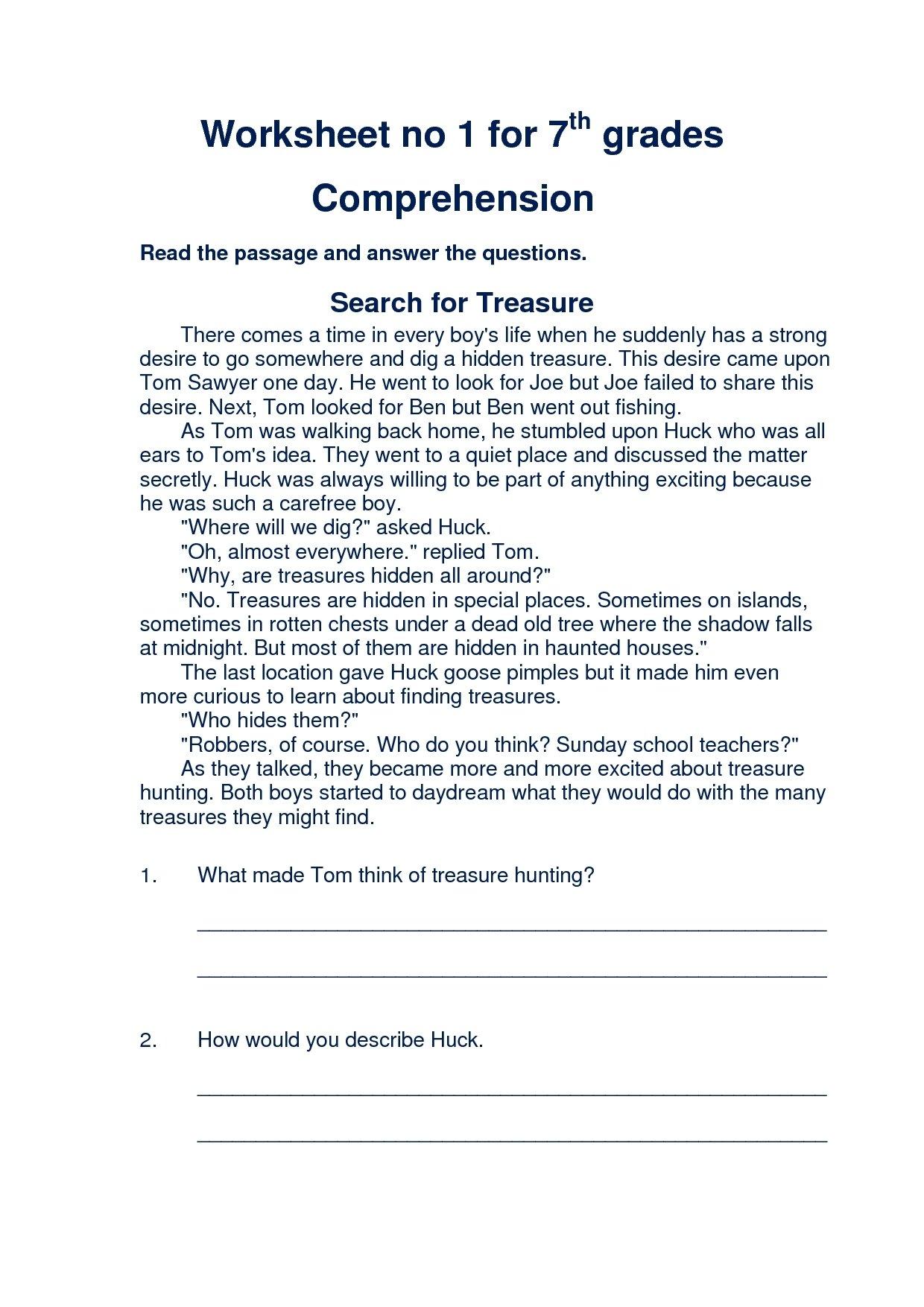 10 Beautiful Main Idea Worksheets 7Th Grade 7th grade language worksheets worksheets for all download and 2021