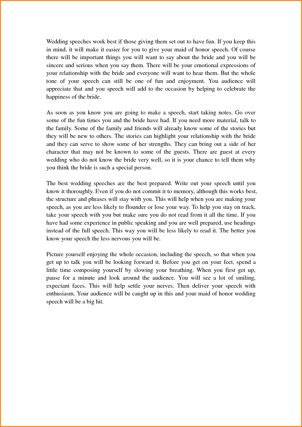 10 Great Maid Of Honor Speech Ideas For Sister 8 maid of honor speech template mac resume template 2 2020