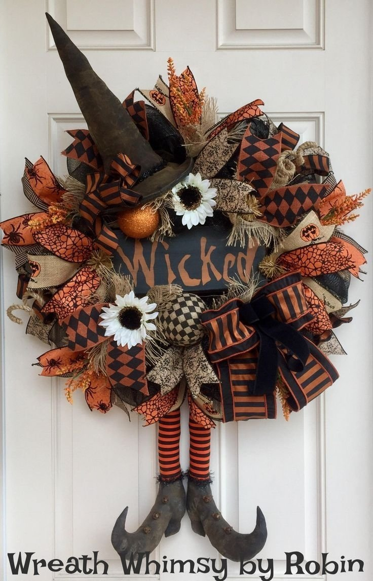 10 Stunning Fall Wreath Ideas Front Door 80 best halloween wreaths images on pinterest deco mesh wreaths 1 2020
