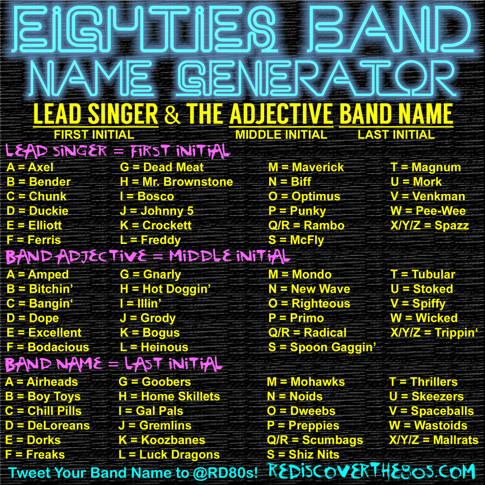 10 Best Band Name Ideas For Rock 80s rock band name generator enchanted little world