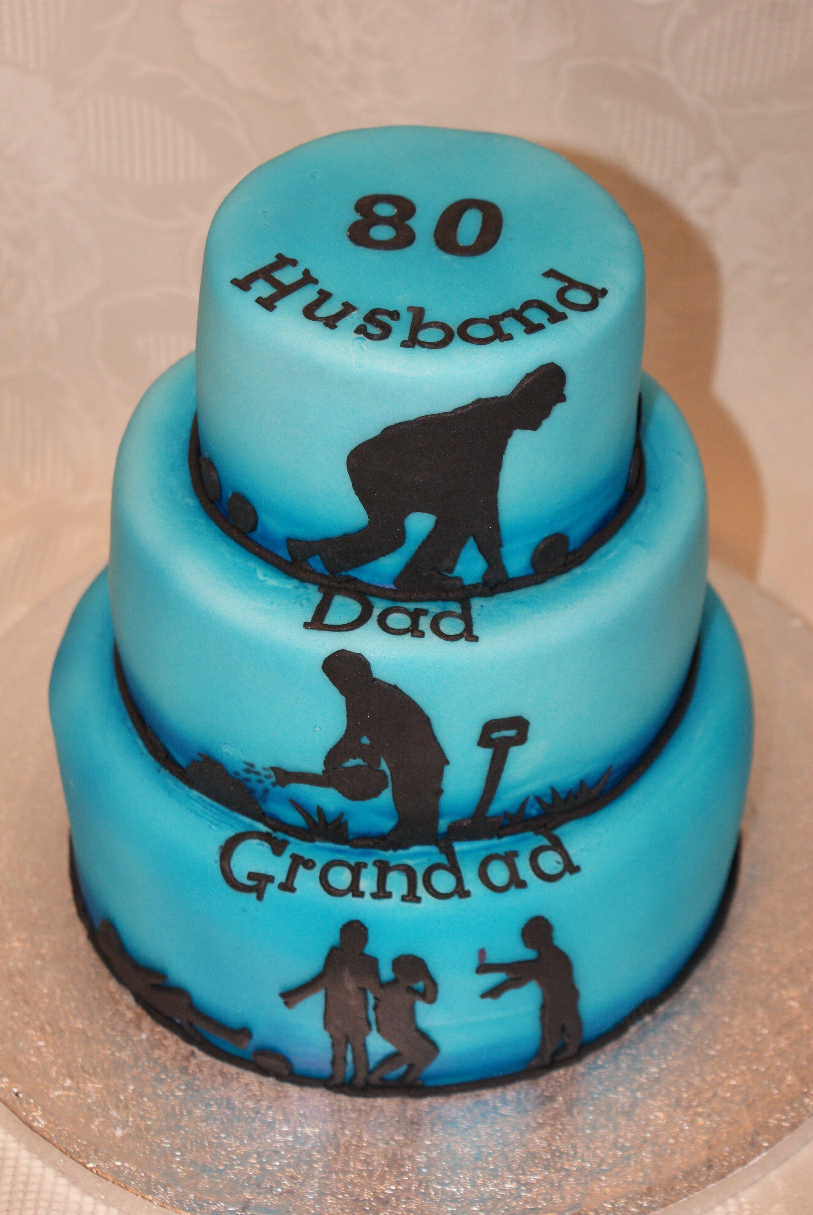 10 Nice 80Th Birthday Ideas For Dad 80th birthday cake husband dad grandad tiered cake with lawn bowls