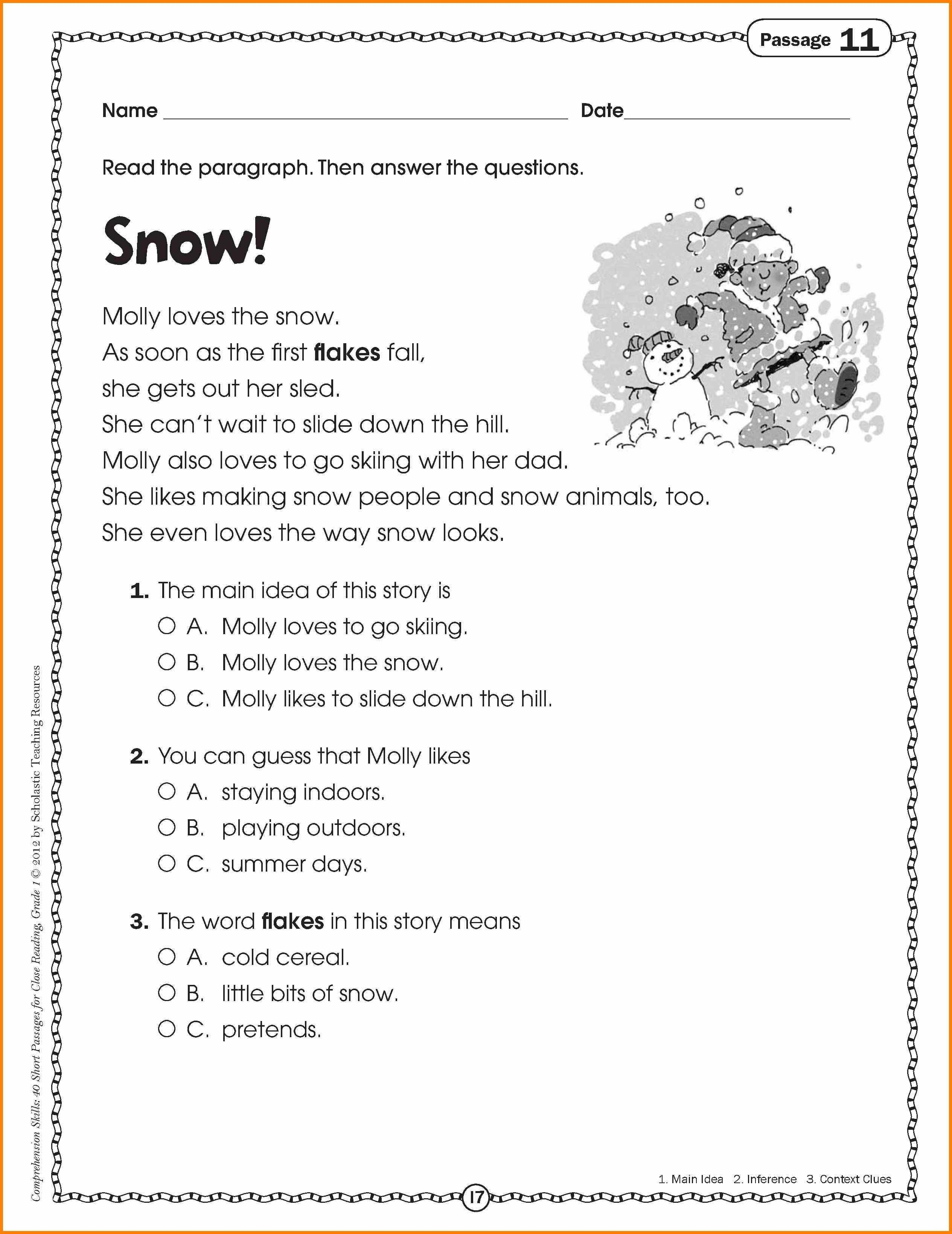 10 Unique Main Idea Worksheets 1St Grade 9 reading passages for 2nd grade cath fordgroup 2