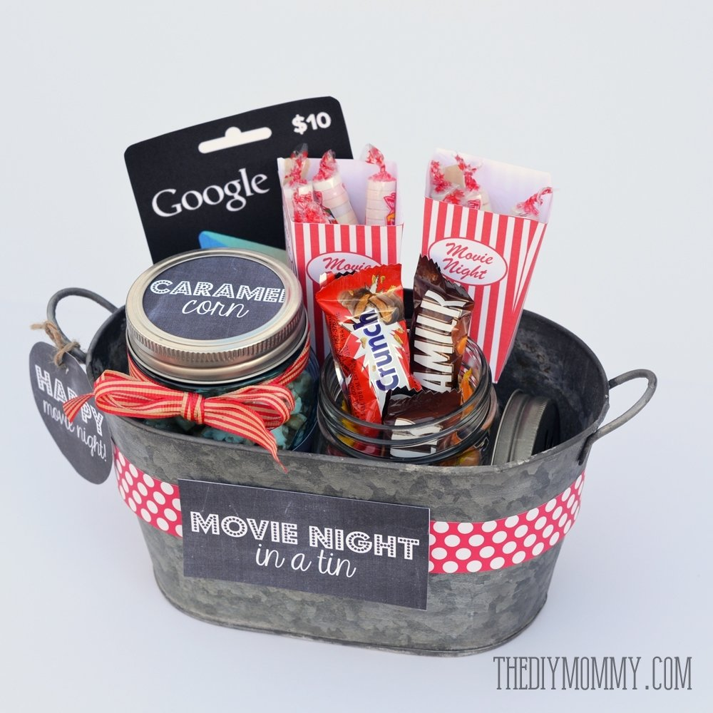 10 Beautiful Gift Ideas For Movie Lovers a gift in a tin movie night in a tin the diy mommy 1