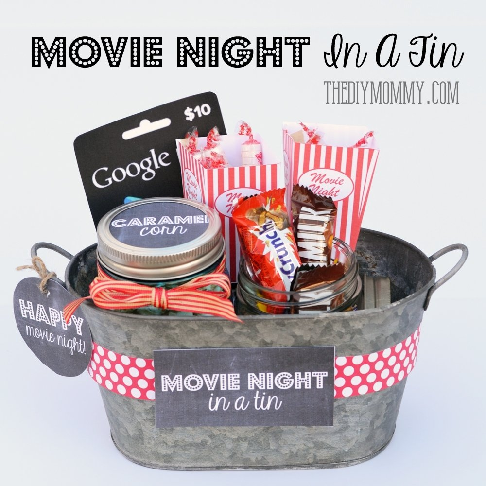 10 Beautiful Gift Ideas For Movie Lovers a gift in a tin movie night in a tin the diy mommy