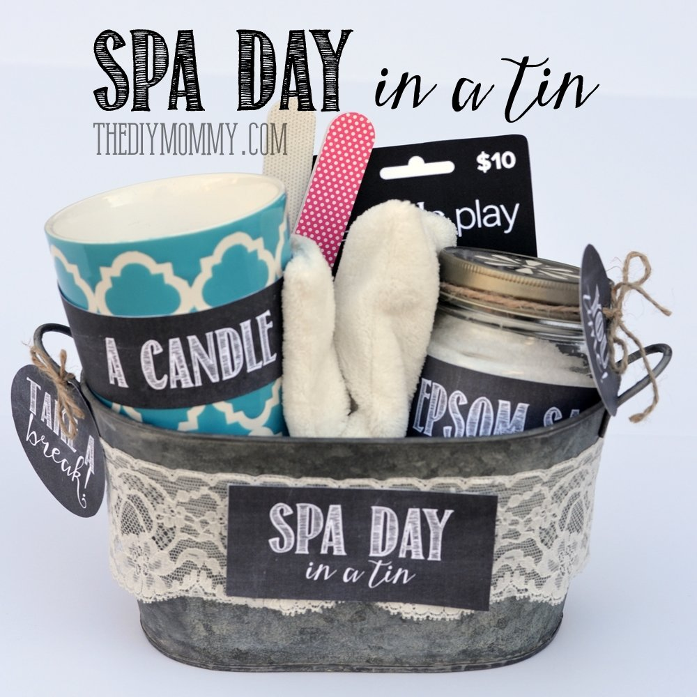 10 Famous Gift Basket Ideas For Women a gift in a tin spa day in a tin the diy mommy 1 2020