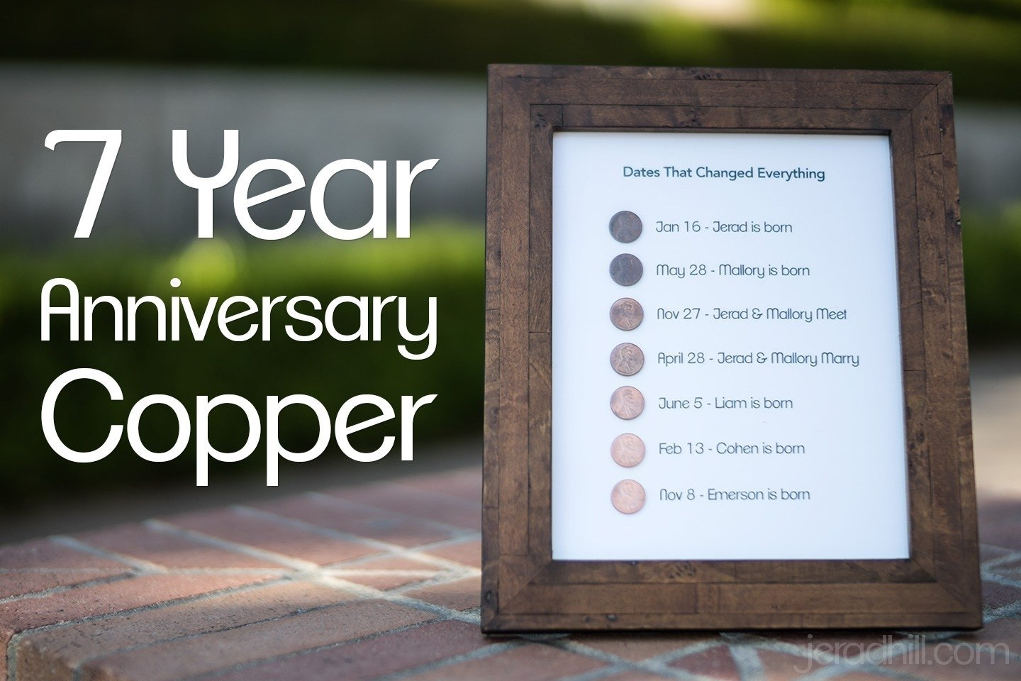 a handmade 7th wedding anniversary gift on a budget using pennies
