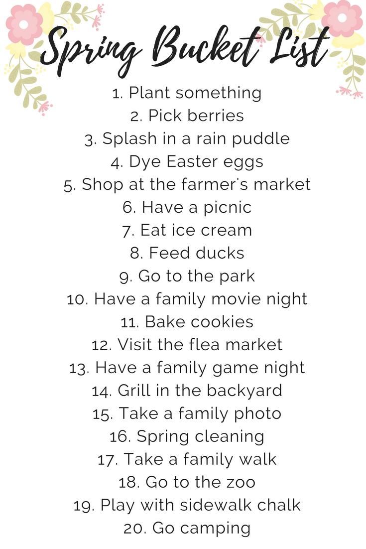10 Fashionable Good Ideas For A Bucket List a kid and toddler friendly spring bucket list with fun ideas for 2021