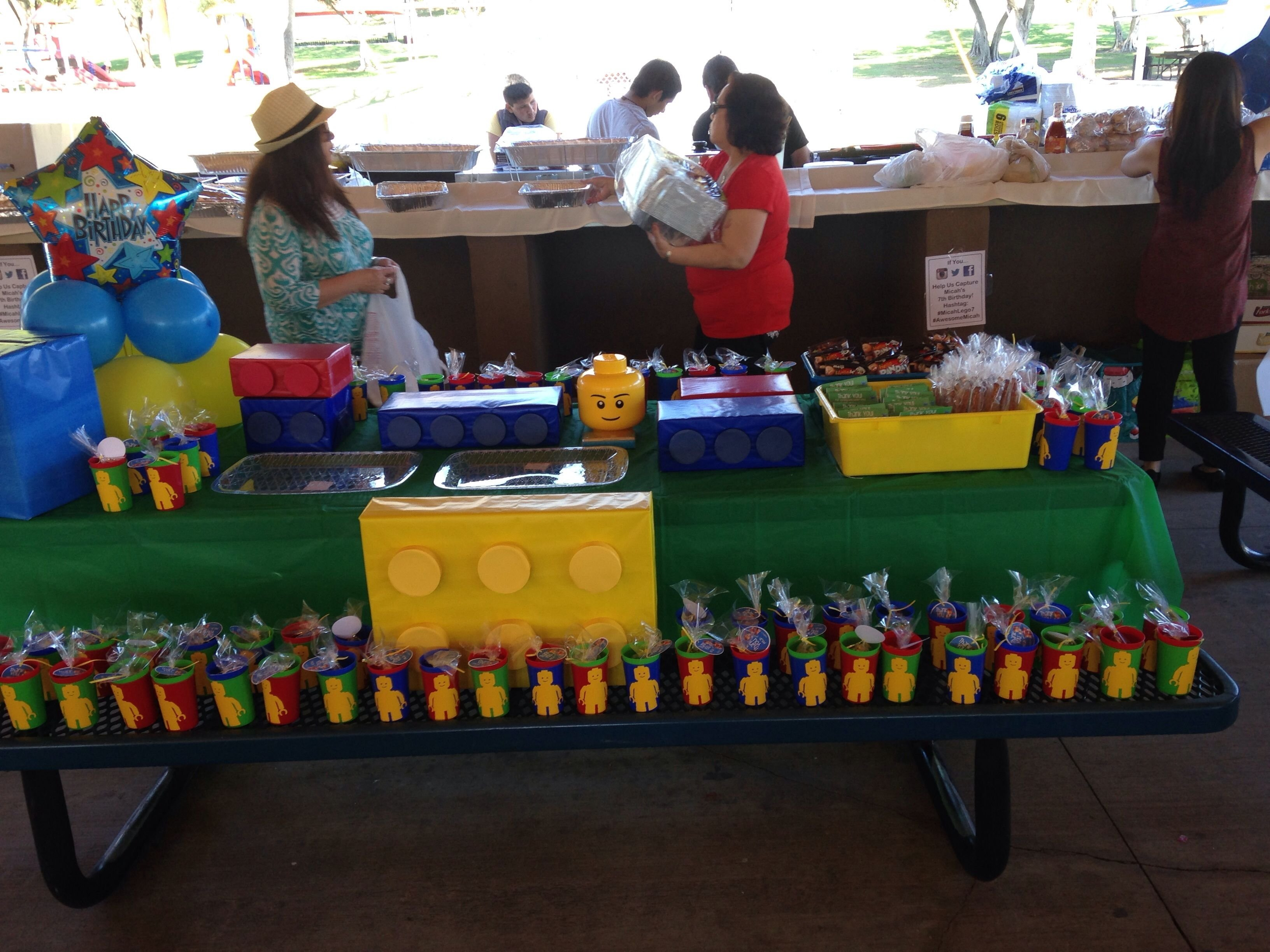 a lego themes birthday party for a 7 year old boy so cute