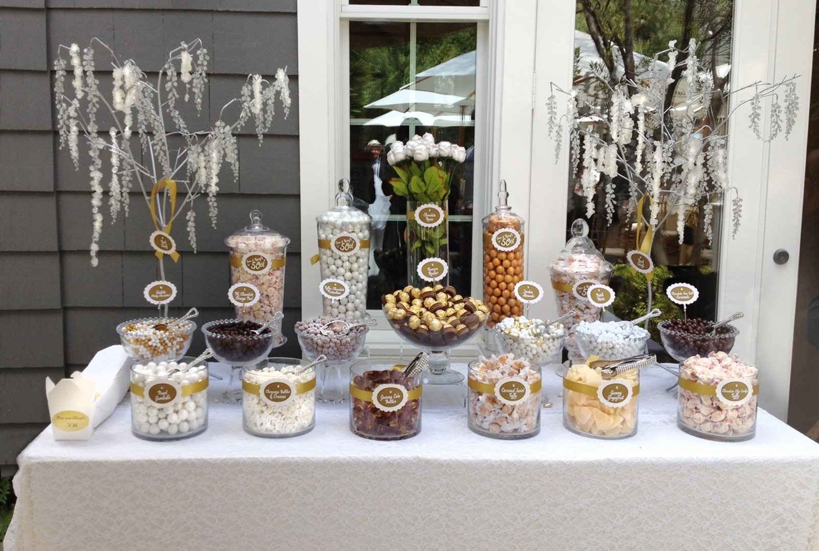 10 Lovable 50Th Wedding Anniversary Decorating Ideas a neutral candy buffet i made for a fun but upscale 50th wedding 1 2020