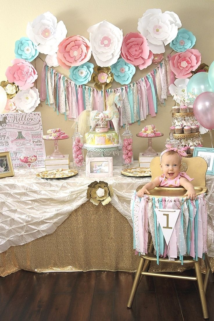10 Lovely 1 Year Birthday Party Ideas a pink gold carousel 1st birthday party carousel birthdays and 9 2020